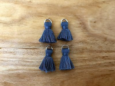 4 x Cotton Tassels 20mm 2cm Long - BLUE - great for earrings & accessories