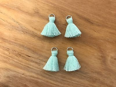 4 x Cotton Tassels 20mm 2cm - LIGHT BLUE - great for earrings & accessories