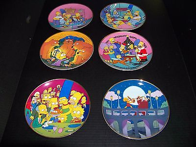 The Franklin Mint Porcelain The Simpsons Collectors Plates. 6 Plates in all