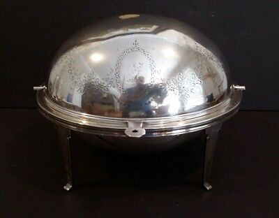 Antique Silverplate  Revolving Dome Roll Top Serving Dish