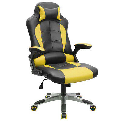 PU Leather High Back Office Desk Race Racing Gaming Chair Mouse Mat YellowBlack$