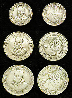 3 Nicaragua coins 1912 silver 25 cent 1936 silver 10 cent 1956 50 cent Free S&H