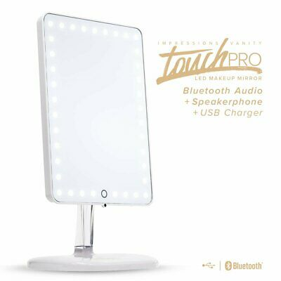 Impressions Vanity Touch Pro LED Makeup Mirror Bluetooth Audio Speaker USB White