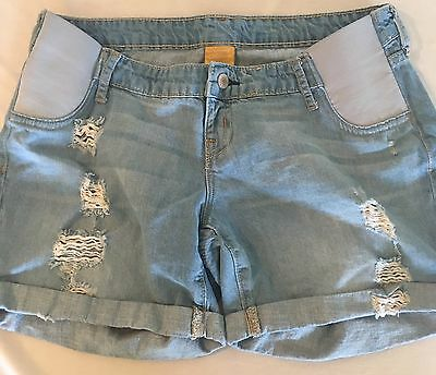Old Navy Maternity Distressed Jean Shorts Size 10 DENIM