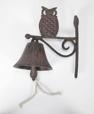 Antique Style Knocker Dinner Bell Cast Iron with Owl Wall Bracket Farm Bell