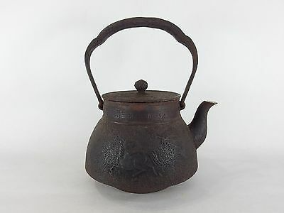 Japanese antique vintage Nambu cast iron Tetsubin teapot kettle chacha