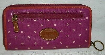 Pink Coated Canvas & Leather Zip Around Fossil Key Per Wallet Clutch Organizer