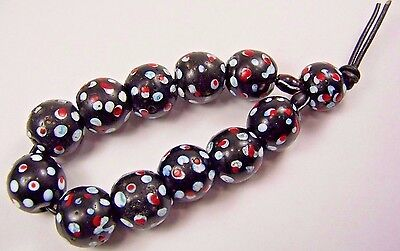 Old Antique Venetian Glass Black Red White Eye African Trade Beads