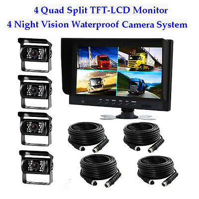 "9"" Split Quad Car Reversing Monitor 4-Video + 4x Truck CCD Backup Camera 24V-12V"