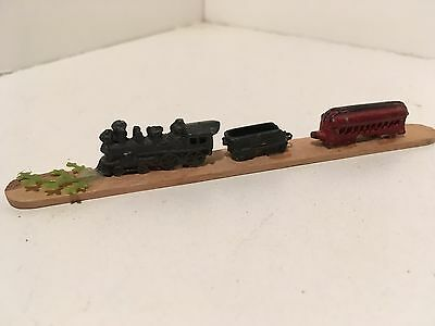 Vintage Dollhouse Miniatures 3 Piece Die Cast Metal Train Set on a Stick #2