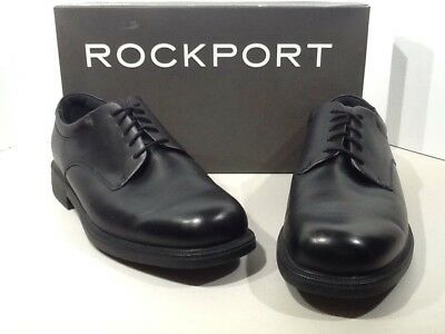 ROCKPORT Men's Margin Size 9.5W Black Leather Lace Up Casual Oxford Shoes X4-490