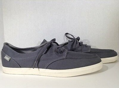 REEF Deckhand Men's Size 12 Gray Canvas Lace Up Sneakers Shoes X3-2281*