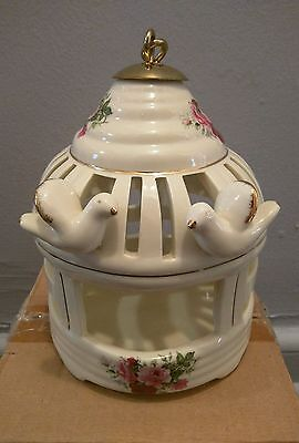 Beautiful Porcelain Floral Design Home Decor Bird Cage Wall Hanging NIB Rare !!