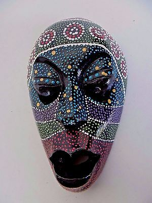"""Wooden Hand Carved Wood Mask Dot Paint Aboriginal Tribal Wall Hanging 9"""" Tall"""