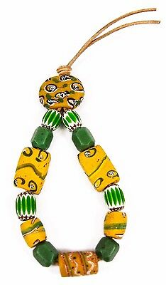Vintage Antique Venetian Glass African Trade Beads Yellow Tabular Barrel Faceted