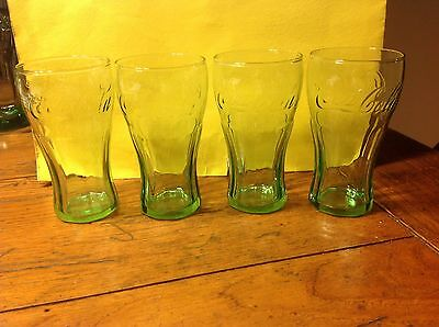 VINTAGE COLLECTIBLES--COCA COLA GREEN GLASS MUGS, 4 1/2 inches