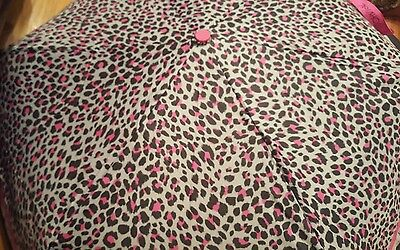 "NWT Betsey Johnson Auto Open 43"" Umbrella Pink/Black Leopard/Cheetah Print"