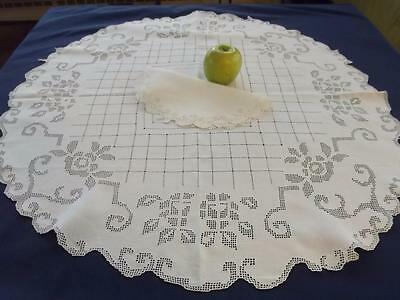 "Antique Italian Linen Geometric Lace Roses 30"" Round Bridal Centerpiece Topper"
