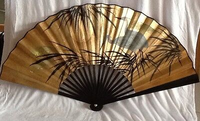 Vintage Asian Oriental large Fan, hand painted cranes on gold