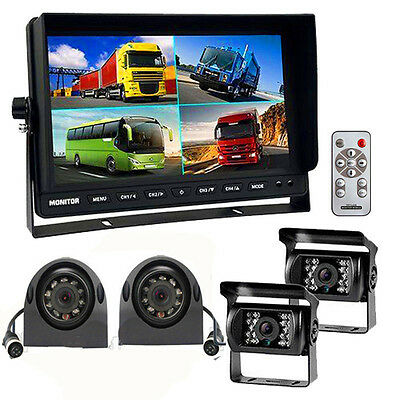 "10.1"" Quad Monitor Video 4Pin + 4 Side & Rear View car backup Cameras 24V-12V"