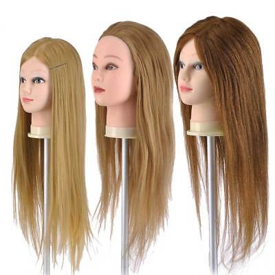 "22"" 26"" Practice Hairdressing Training 30 90 100% Human Hair Head Mannequin Doll"