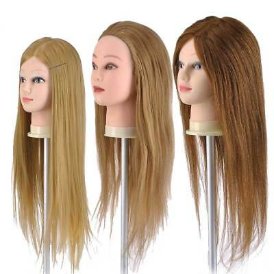 30/90/100% Human Hair Practice Hairdressing Training Head Mannequin Doll + Clamp