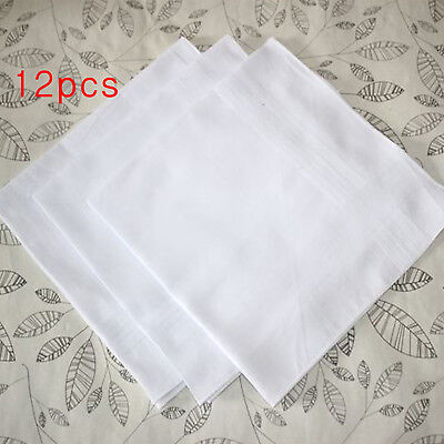 12 White Luxury 100% Cotton Soft Men's Hemmed Stitched Handkerchiefs 40cm