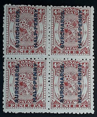 SCARCE 1894 Tonga block of 4d brownish red Coat of Arms stamps w 1/2d surch Mint