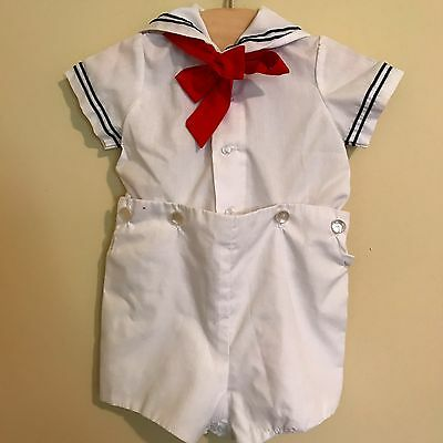 White Sailor Suit for Baby Boy, 2 Piece Baby Sailor Outfit, Nautical Baby Outfit