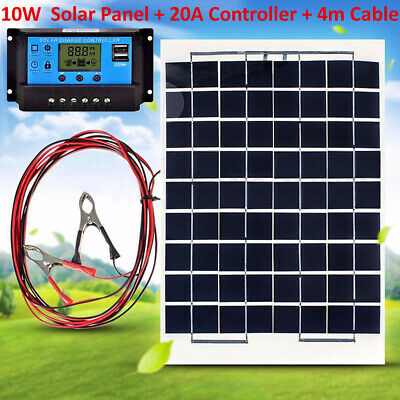 10W 12V Solar Panel Battery Charger with 20A LCD USB Regulator Charge Controller