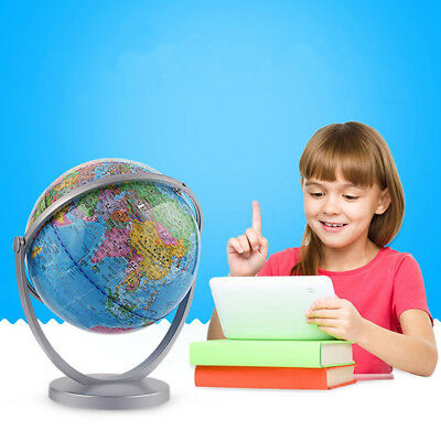 World Globe Earth Blue Ocean Atlas Map With Rotating Stand Geography Educational