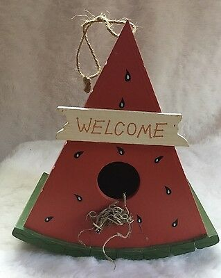 Watermelon Painted Wood Decorative Summer Birdhouse Hanger Bird Feeder Not Used