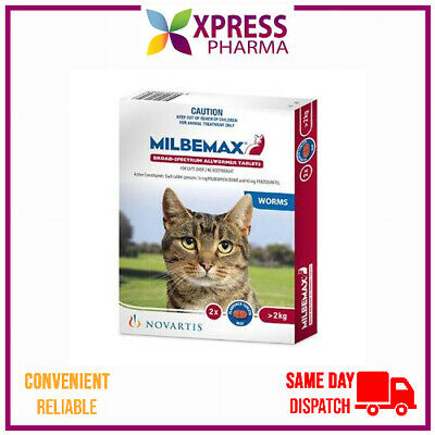 Milbemax Allwormer for Large Cats Over 2kg Tablets Intestinal Wormer NEW XPRESS