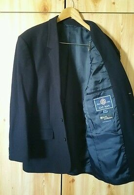 Size 42R Mens Wool and Cashmere Suit Jacket Sports Jacket Navy 3 button lined