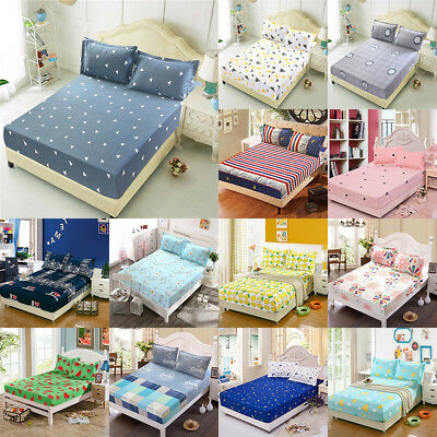 3 Sizes New Flora Color Fitted Sheet Twin Full Queen King Cotton Bed Sheet Cover