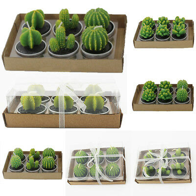 6Pcs Creative Cactus Plants Candles Home Room Table Decoration