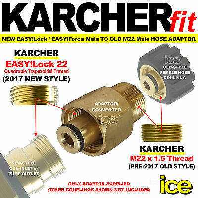Pressure Washer Adaptor for Karcher HD HDS 11mm End to M22 Male