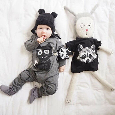 Baby Cartoon Cat Cotton Toddler Soft Bodysuit Long Sleeve Rompers Sleepsuit