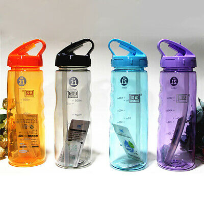 Flip Straw Drinks Sport Water Bottle Cycling Hiking Camping Leak Proof BPA Free