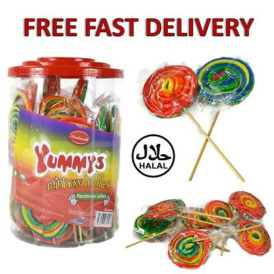 Yummys Fruit Rainbow Lollipop Wheel Rock HANDMADE Lollies Sweet HALAL Candy Kids