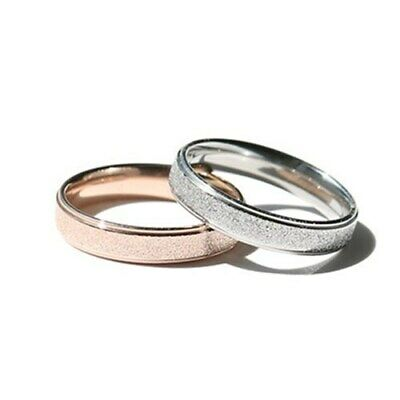 4MM Rose Gold Frosted Band Women's Titanium Steel Engagement Tail Ring Size 4-13