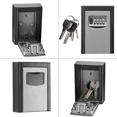 OUTDOOR KEY SAFE HOUSE AND SPARE CAR KEYS STRONG STEEL LOCK BOX WALL MOUNT Black