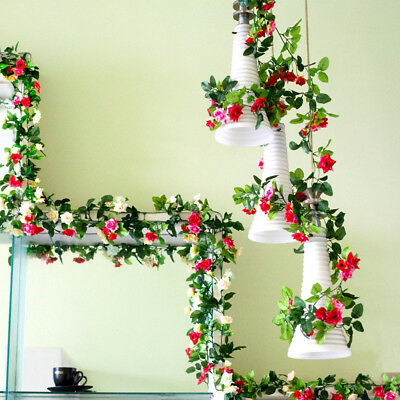 2 X 8Ft Artificial Rose Garland Silk Flower Vine Ivy Wedding Garden Party Décor