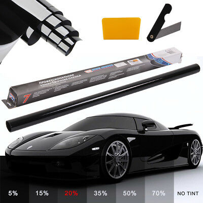 MEDIUM SMOKE BLACK 20% CAR WINDOW TINT 6M x 76CM FILM TINTING ANTI-SCRATCH
