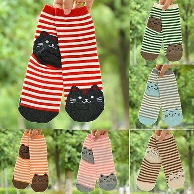 Women Lady Big Girls Fashion Lovely Cartoon Cat Cotton Short Ankle Socks Gifts A