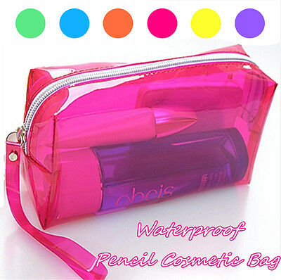Zipper Pen Pencil Stationery Bag Clear Candy Waterproof Cosmetic Storage Bag UK