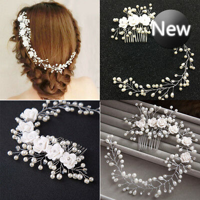 Pearl Wedding Flower Hair Crystal Bridal Pins Bridesmaid Clip Side Comb Headband