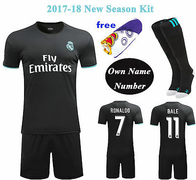 2017-18 Football Soccer Away Kit Short Sleeve Sportwear Jersey Kids Youth+Socks
