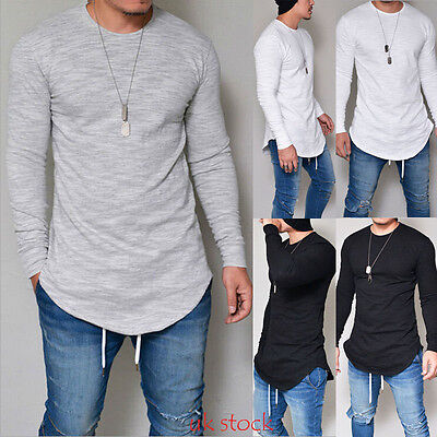 Trendy Mens Casual Long Sleeve Shirts Formal Slim Fit Shirts Tops Blouse T-Shirt