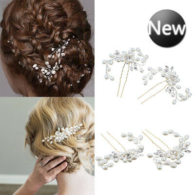 Pearls Wedding Hair Vintage Crystal Bridal Hair Pins Bridesmaid Clips Side Comb